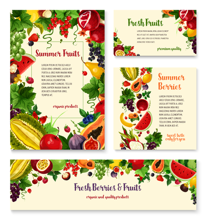berry fruit: Fruit, berry banner template set for food design Illustration