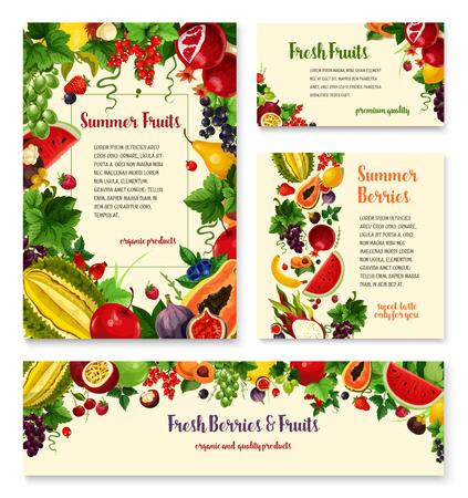 Fruit, berry banner template set for food design Illustration