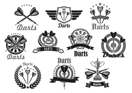Simbolo sportivo di freccette impostato con dartboard e trofeo