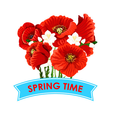 crocus: Vector Spring time poppy flowers greeting poster Illustration