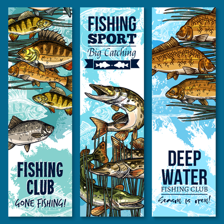 fishery: Fishing sport club banner set with swimming fish