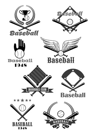symbol sport: Baseball sport club symbol design with bat, ball