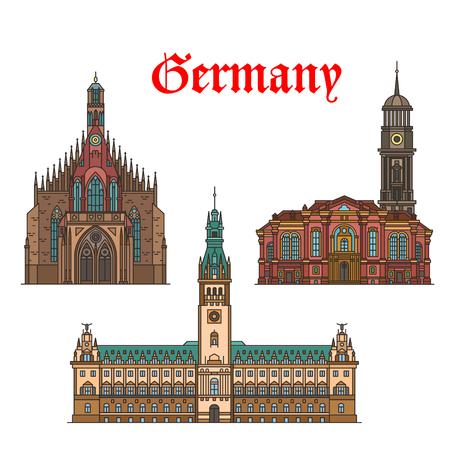 German travel landmarks icon of church, city hall Illustration
