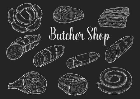 Sketches de craie à la viande et à la saucisse sur le tableau noir
