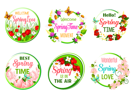 Vector spring time greeting quotes in icons set