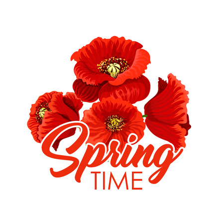 Vector spring flowers poppy bunch greeting poster Illustration