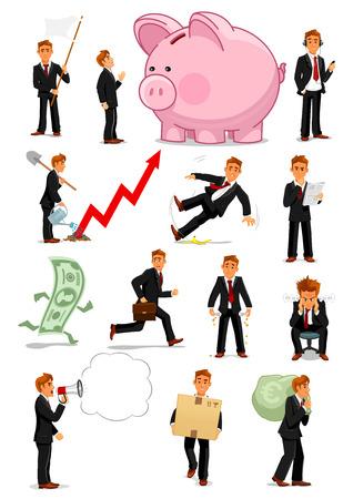 Zakenman karakter in verschillende situaties ingesteld Stock Illustratie