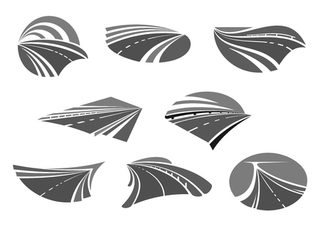 Road, highway, freeway and roadway icon set Illustration