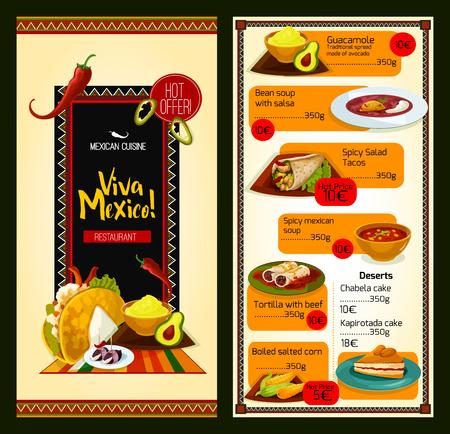 cuisine mexicaine modèle de menu de restaurant