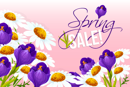 crocus: Sale poster of springtime vector floral design