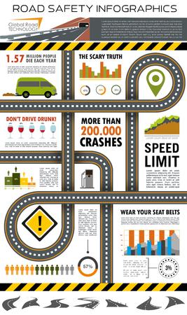 Weg- en verkeersveiligheid infografisch ontwerp Stock Illustratie