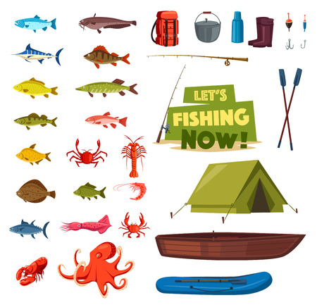 Fishing sport icon with fish, boat, rod, tackle Illustration