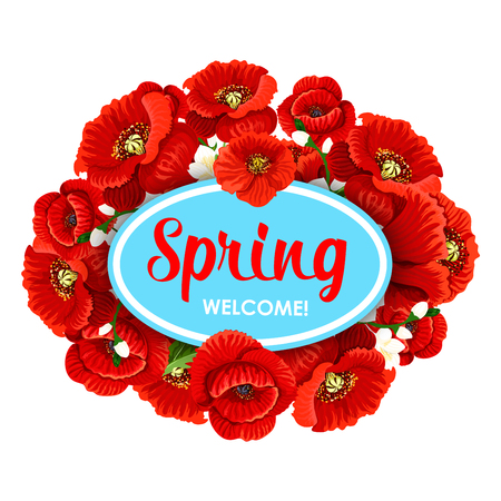 Vector Welcome Spring time flowers greeting poster