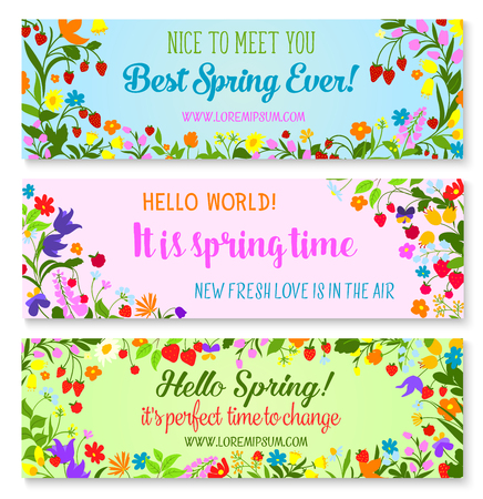 Vector banners with spring time greetings quotes Çizim