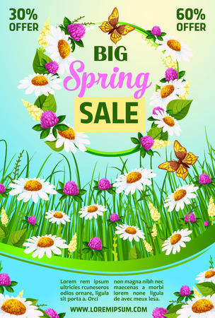Spring holiday sale vector poster of flowers Illustration