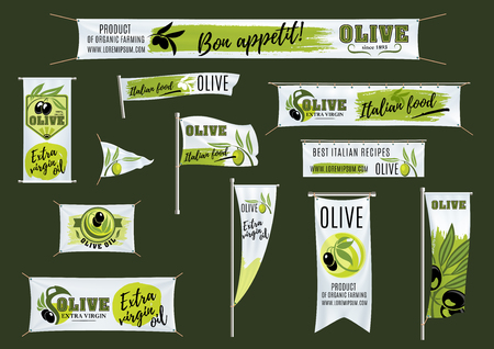 Banner, flag, roll up stand template with olives