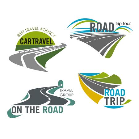 Road travel bedrijf vector icons set tourism trip