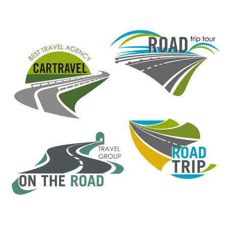 Road travel company vector icons set tourism trip