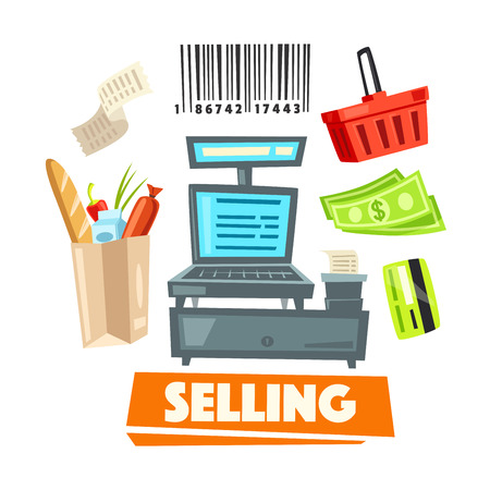Shopping retail selling vector shop items icons Stock Vector - 75650624