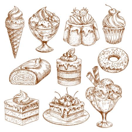 ベーカリー ショップ スケッチ デザート菓子ベクトルのアイコン