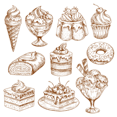 buttercream: Bakery shop sketch icons of vector pastry desserts