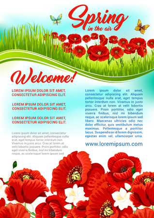 flower layout: Vector spring time flowers holiday greeting poster Illustration