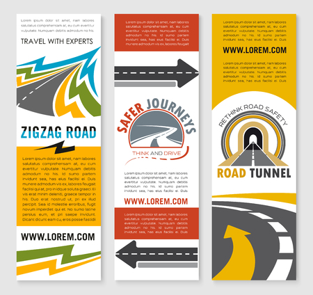 Road service or travel company vector banners set