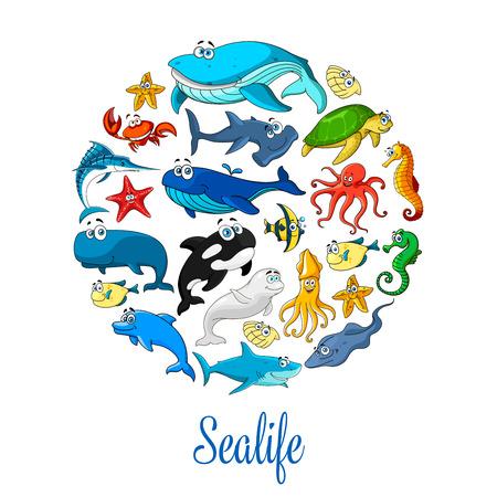 Sea ocean cartoon animals, fishes vector poster