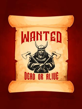 Wollte tot oder lebendig Krieger Wikinger Vektor Poster Standard-Bild - 75651097