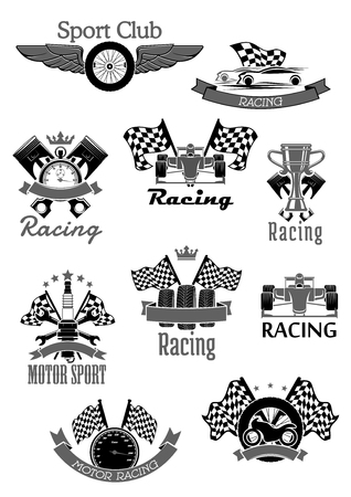 motor car: Car or sport motor racing club vector icons set Illustration