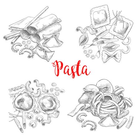 Pasta and Italian macaroni vector sketch Illustration
