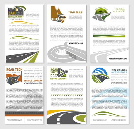 Road travel company vector posters set