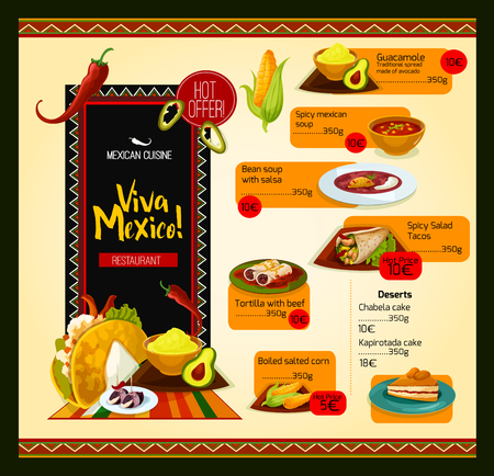 chips and salsa: Mexican menu vector template for restaurant