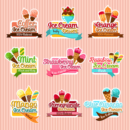 Ice cream sorts stickers vector icons set for cafe Illustration