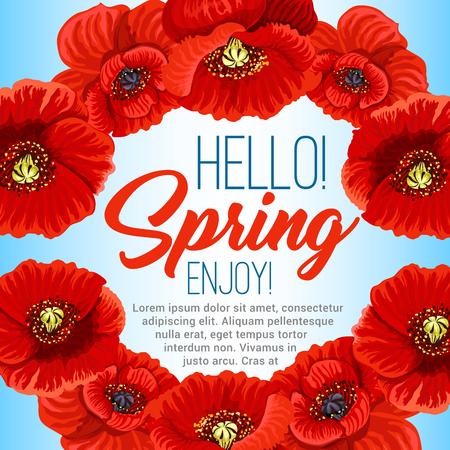 Vector spring poster of poppy flowers wreath