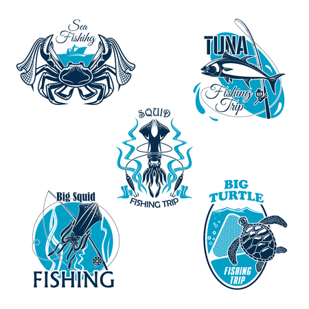 Fishing trip or club vector icons or badges set