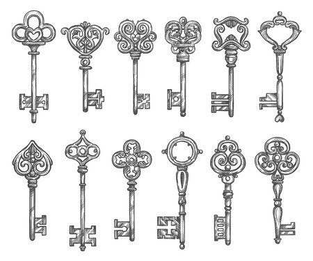 keys isolated: Vintage keys vector isolated icons sketch set