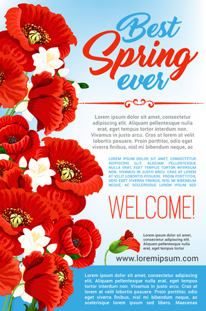 flower layout: Vector Welcome Spring floral greeting poster
