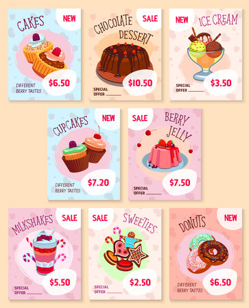 bakery price: Bakery desserts price tags vector templates set