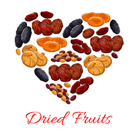 Heart of vector dried fruits snacks Ilustração