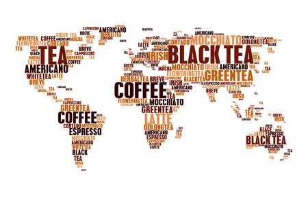 Cloud tags tea coffee hot drinks world map words Illustration
