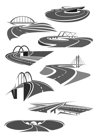 tunneling: Vector icons of road tunnels and highway bridges
