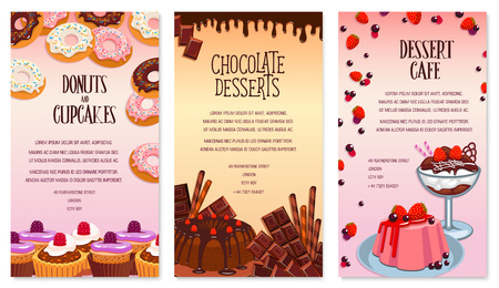 vanilla pudding: Vector desserts menu template for bakery or cafe Illustration
