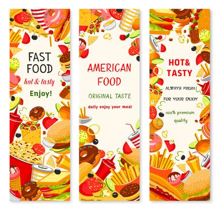 Fast food restaurant menu vector banners Illustration