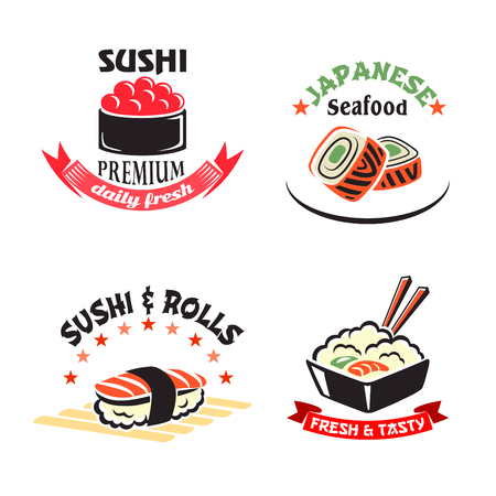 Vector icons set for sushi or seafood restaurant Çizim