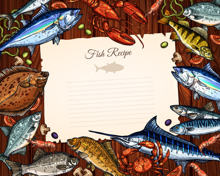 Vector template of blank paper for fish recipe Reklamní fotografie - 75654096