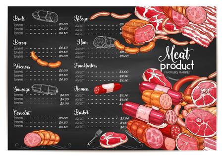 ベクトル肉価格テンプレート肉屋またはファーム市場