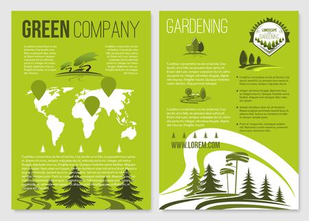 Groene bedrijf vector posters sjablonen instellen Stock Illustratie