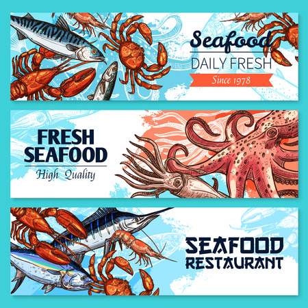 Seafood restaurant banners vector sketch set.