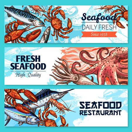 crucian: Seafood restaurant banners vector sketch set.